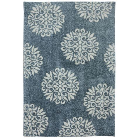 blue accent rug mohawk home exploded medallions blue woven 8 ft x 10 ft