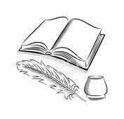 Skizze Stil Feder UND Tintenfass MIT Buch Stock Vector