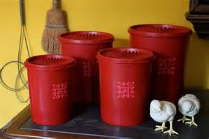 Red Kitchen Canister by Red Tupperware Canisters Cherry Servalier Plastic Containers
