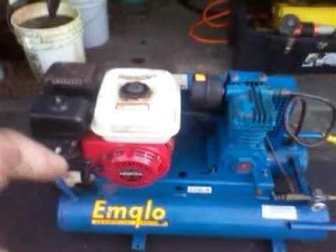 cold start emglo air compressor honda hp youtube