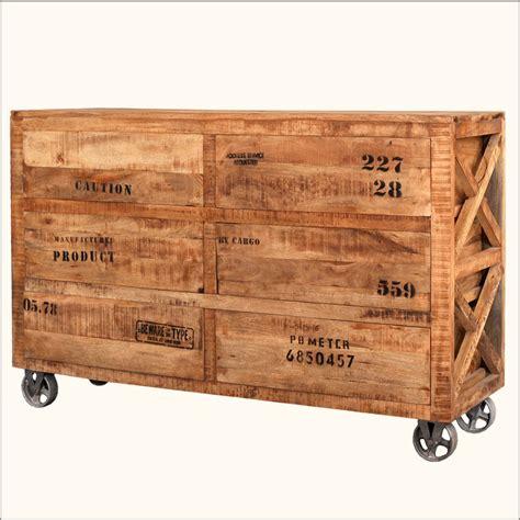 6 drawer cabinet on wheels industrial reclaimed wood rolling wheels 6 storage drawer