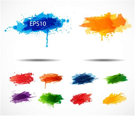 color ink splashes vector free vector graphic
