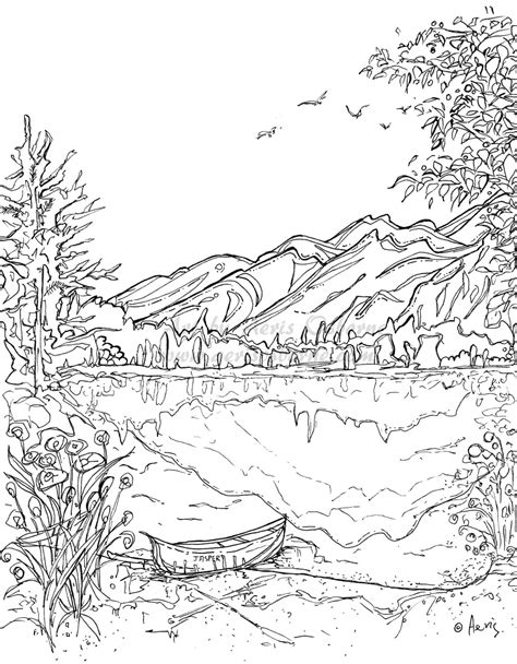 coloring pages landscapes mountains serenity jasper landscape printable coloring page canoe