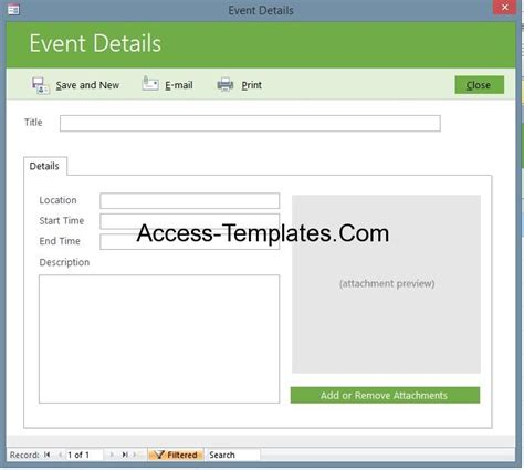 microsoft event templates microsoft access event management template database