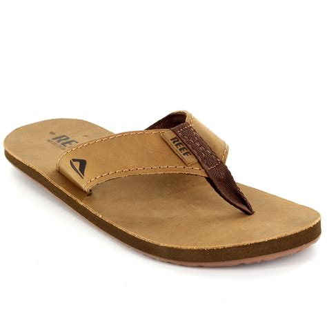surf sandals mens reef smoothy leather surfing vacation surf flip flops