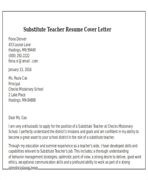 Exle Resume For Teachers Cover Letter by Cover Letter As A Substitute 28 Images 24 Cover Letter