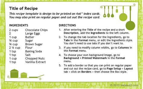 premium 4 x 6 recipe card template recipe card templates free premium templates