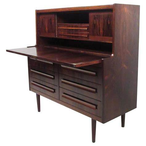 Front Desk For Sale by Mid Century Rosewood Drop Front Desk For