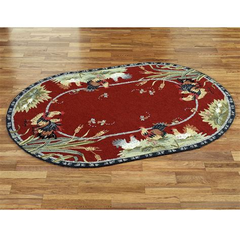 Rooster And Hens Oval Rugs Rooster Rugs