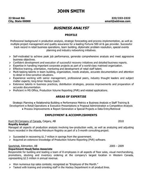 Business Accounting Resume Sles Click Here To This Business Analyst Resume Template Http Www Resumetemplates101