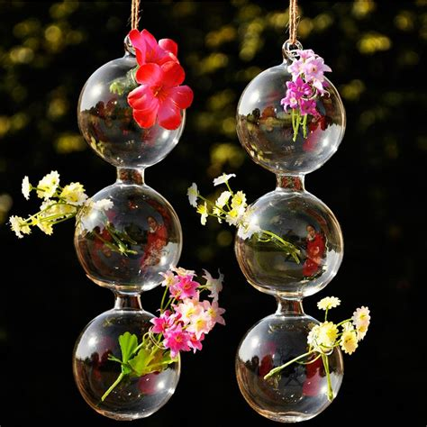 Hanging Flower Vases Wedding by 1 2pcs Hanging Glass Planter Flower Vase Pot