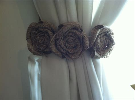 flower tie backs for curtains burlap curtain tie back pair three natural by