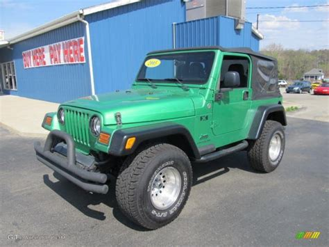 dark green jeep lifted 2005 electric lime green pearl jeep wrangler x 4x4