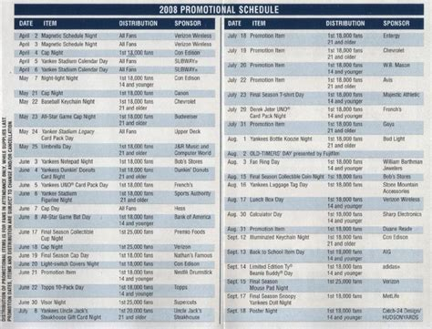 yankees 2013 promtional schedule autos weblog