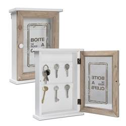 wooden key cabinet glass door storage box accessory hooks