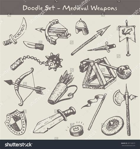 doodle how to make weapon weapons doodles set stock vector 287138573