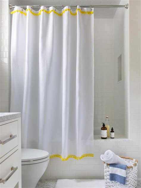 drape shower curtains 3 easy ways to upcycle a plain shower curtain hgtv
