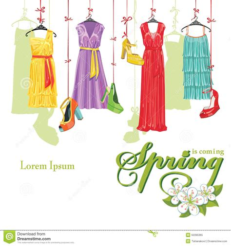 Gift Wrapping Styles - dress and shoes spring fashion illustration stock vector image 50395365
