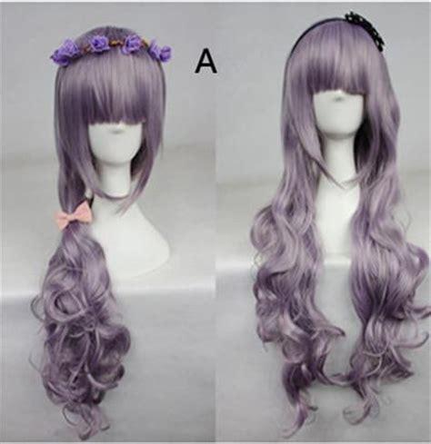 Wig 70 Cm Tsn harajuku smoky violet color mixing 80cm 70cm 60cm curly wig cp164 cospicky