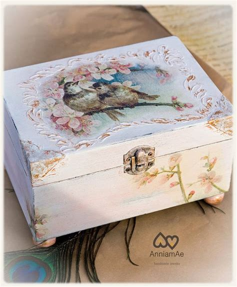 Decoupage Jewelry Ideas - jewelry boxshabbychic decoupage birds by anniamaedesigns
