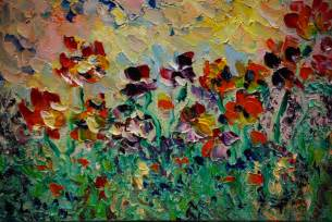 Simple abstract flower paintings garden abstract flowers