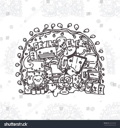 doodle electricity seamless pattern doodle background saving energy stock