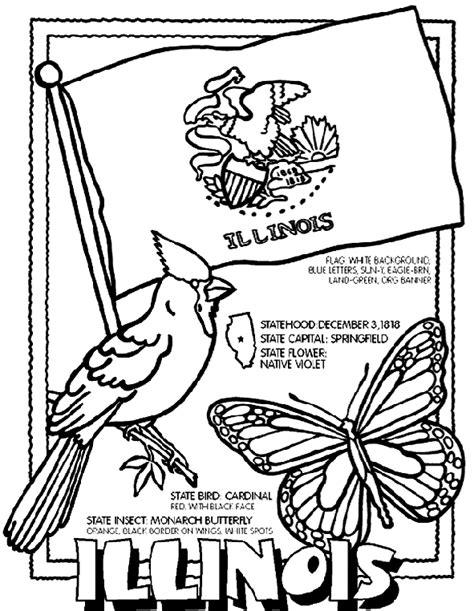 Illinois Crayola Ca Illinois State Flag Coloring Page