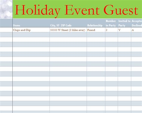 Holiday Event Guest List Event Guest List Template