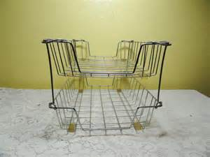 vintage wire file basket office in out mail desk organizer 2