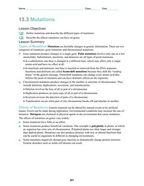 worksheet 19 gene and chromosomal mutations answers the