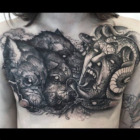 cerberus tattoo medusa and cerberus on chest medusa and