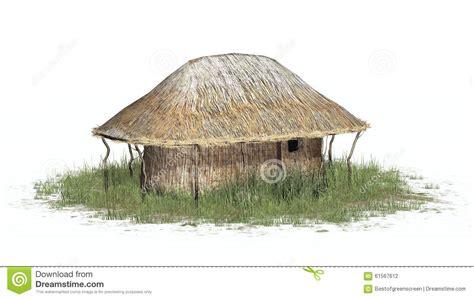 Thatch Hut Thatch Hut In Grass On White Background Stock