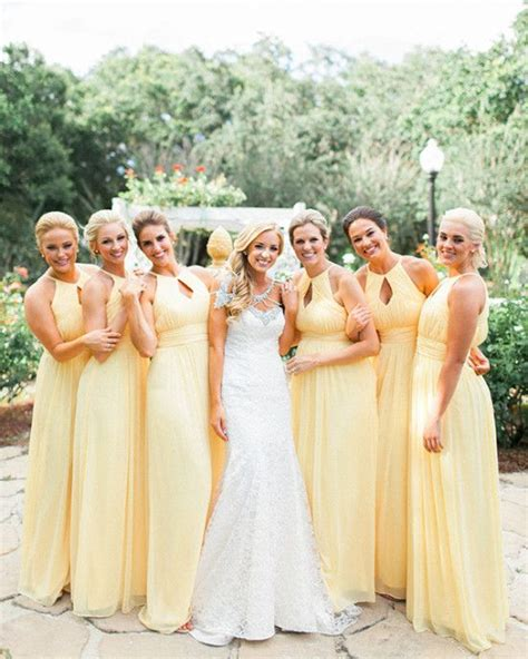 Yellow Bridesmaid Dress by Yellow Bridesmaids Pastel And Blue Wedding Colors On