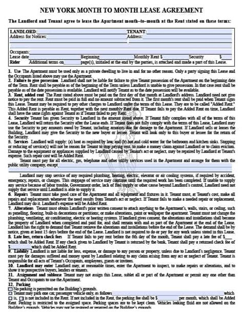 Free New York Month To Month Rental Agreement Pdf Template Ny Residential Lease Agreement Template