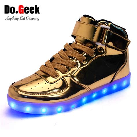 silver light up shoes 2016 dogeek high top led shoes and fashion light
