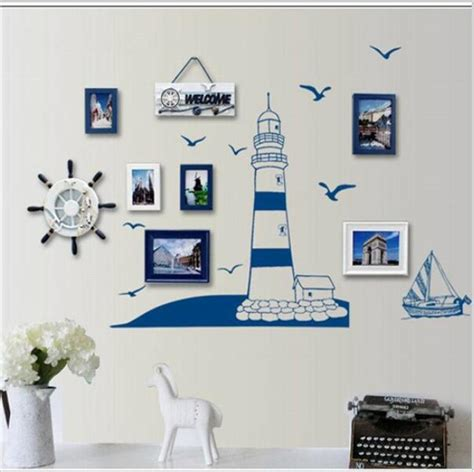 Nautical Bedroom Wall Decor Blue Lighthouse Seagull Photo Frame Diy Wall