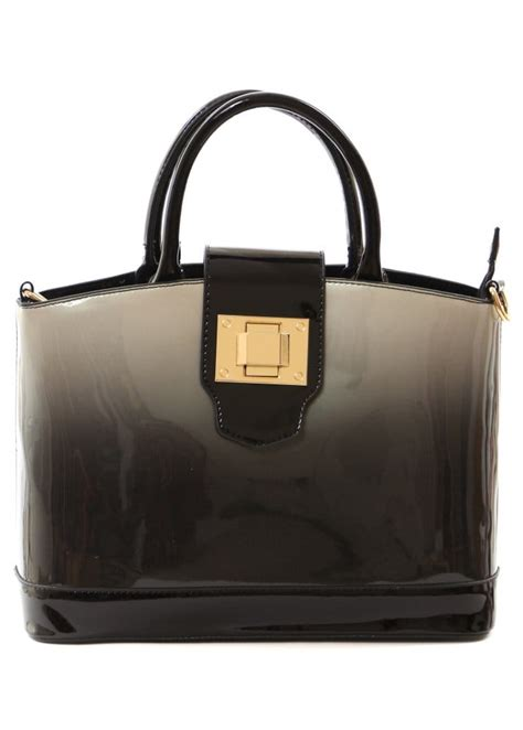 Designer Vs High Ombre Tote by High Gloss Patent Handbag Black Ombre Oversized Tote Bag