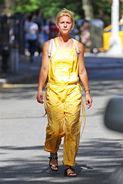 claire danes yellow jumpsuit claire danes in yellow jumpsuit out in new york 08 17 2016