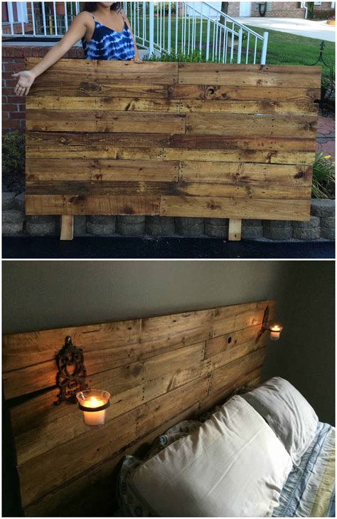 pretty plywood backed queen sized pallet headboard