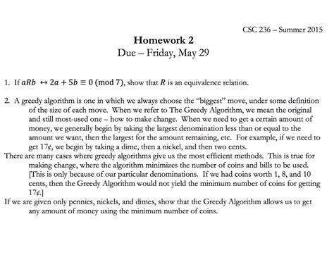 friday may 29 2015 solved csc 236 summer 2015 homework 2 due friday may 29