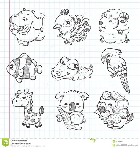 doodle draw animals set of doodle animal icons stock vector illustration of