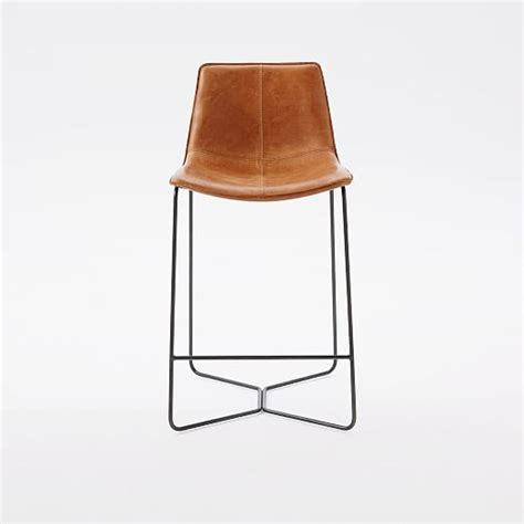 Leather Kitchen Stools by Slope Leather Bar Counter Stools West Elm