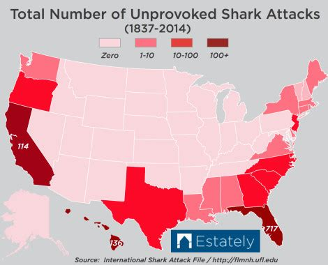 shark attack map california which u s states are most likely to experience a