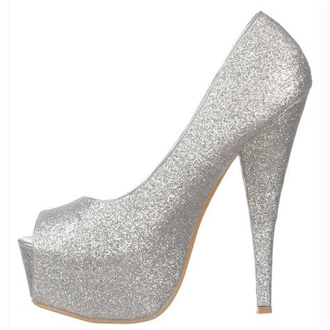sparkly silver high heels shoekandi silver sparkly glitter peep toe stiletto