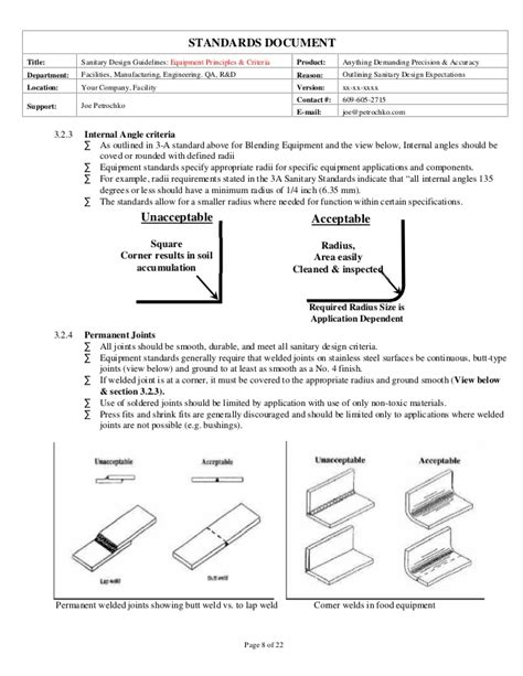 design criteria document sanitary equipment design guidelines part 1 of 2