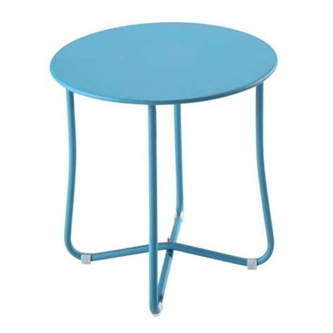 45 cm side table metal garden side table in turquoise blue d 45cm capsule
