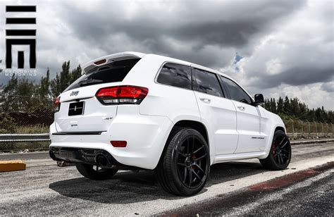 white jeep grand cherokee custom jeep grand cherokee srt on black custom wheels by