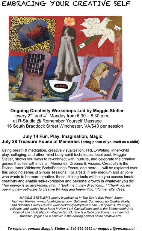embracing your creative self july 25th session focus - Zuckerman S Swing