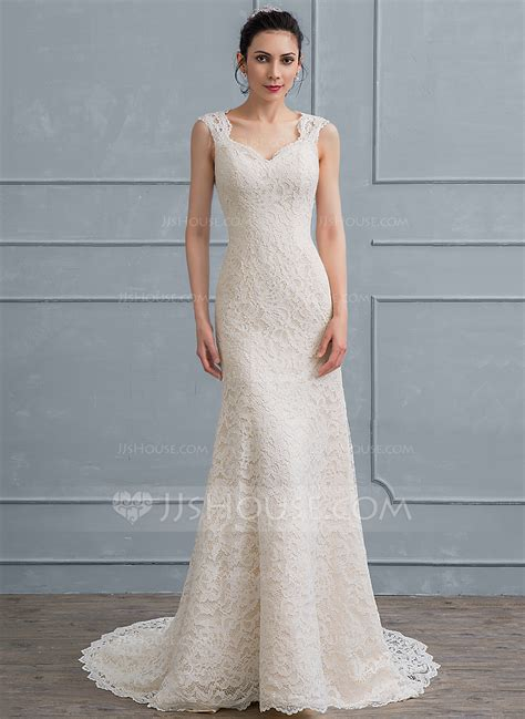 Court Wedding Dress by Sheath Column Sweetheart Court Lace Wedding Dress