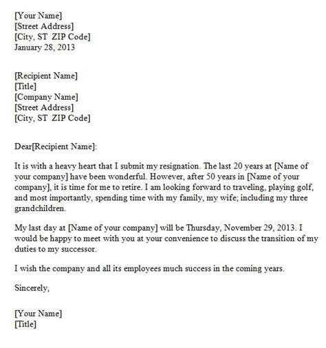 resignation letter due to retirement office templates